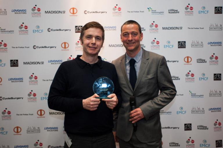 Tony accepts LCC award from Ned Boulting