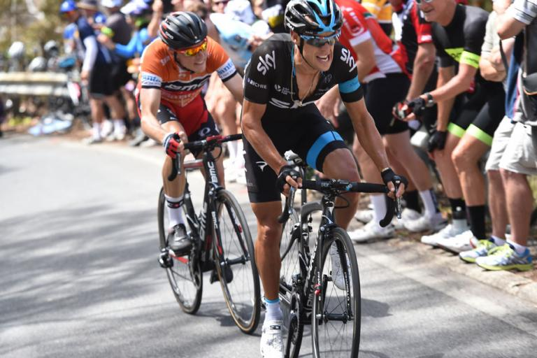 Tour Down Under 2015 Stage 5 Richie Porte with Rohan Dennis on his wheel (picture credit Regallo)