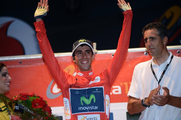 Vuelta 2012 S1 Jonathan Castroviejo in leader's jersey (copyright Unipublic:Graham Watson)