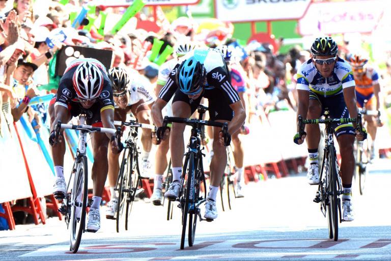 Vuelta 2012 S18 final sprint Bennati beats Swift (copyright Unipublic:Graham Watson)