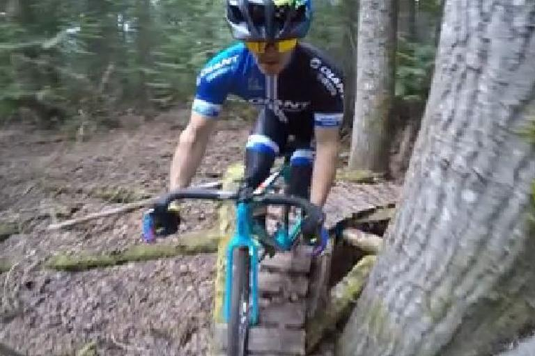 Yoann Barelli on the trails at Whistler (Facebook video still)