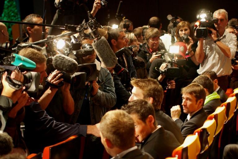 Andy Schleck faces the press at the 2011 Tour de France Presentation © Simon MacMichael