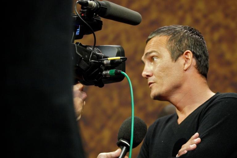 Richard Virenque in his role as TV pundit at the 2011 Tour de France Presentation © Simon MacMichael