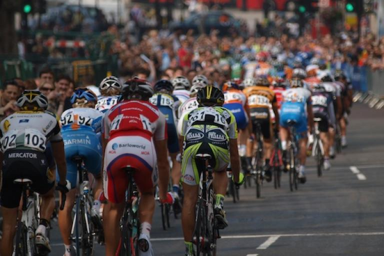 The peloton races up Whitehall during the London stage of the 2009 Tour of Britain