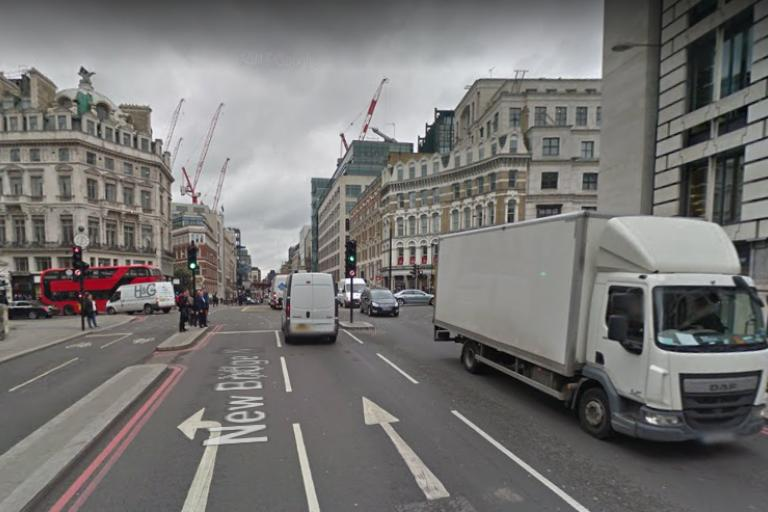 Junction of New Bridge Street and Ludgate Circus (looking north via Google Street View).PNG