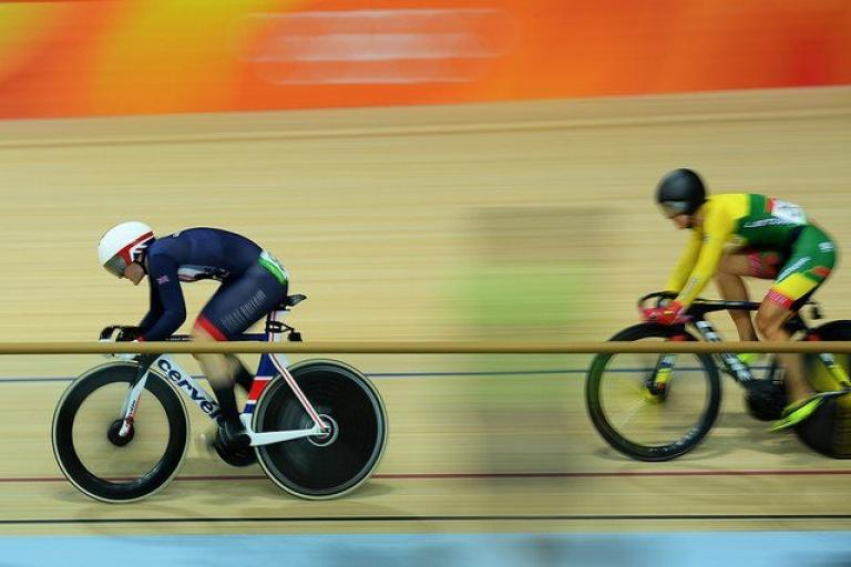 Katy Marchant leads Simona Krupeckaitė in the sprint QF at Rio 2016 (copyright Britishcycling.org_.uk).jpg