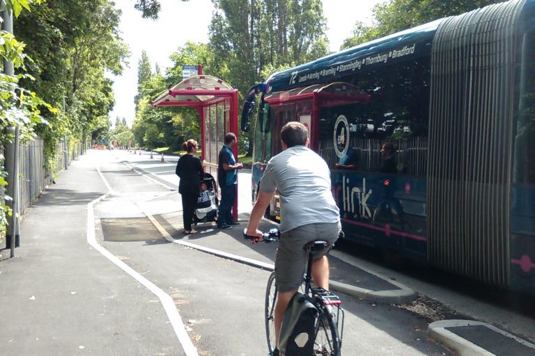 Leeds Bradford cycle superhighway bus stop bypass.jpg