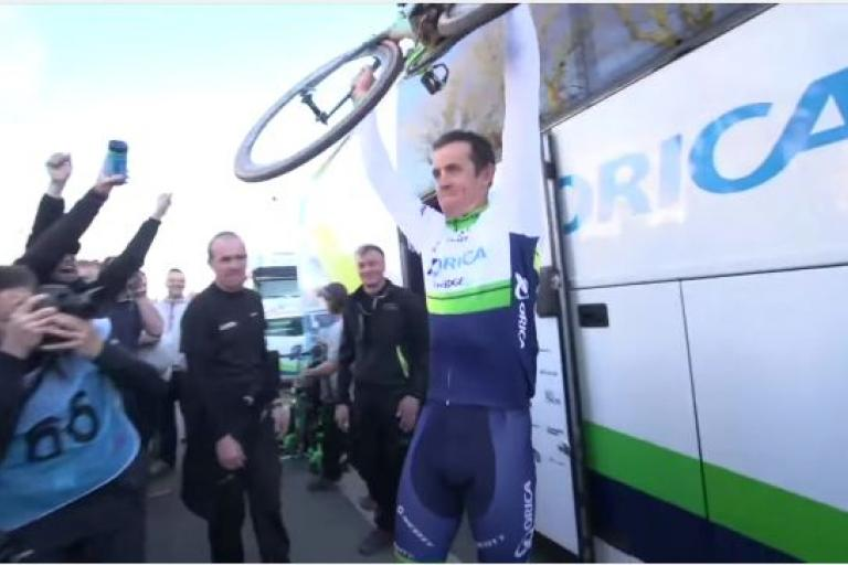 Mat Hayman after winning Paris-Roubaix (source Orica GreenEdge video still).JPG