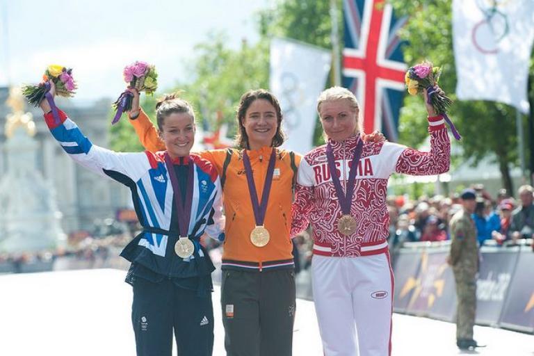 Olga Zabelinskaya (R) on London 2012 road race podium (copyright Britiishcycling.org_.uk).JPG