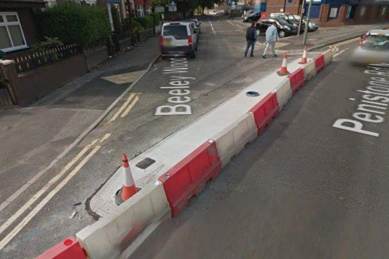 Penistone Road North cycle lane under construction (via StreetView).jpg