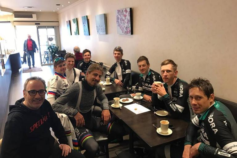 Peter Sagan and team mates in cafe in Kortrijk (picture courtesy Michael Marks).jpg