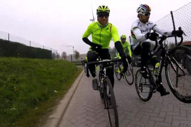 Peter Sagan Scheldeprijs training ride (Tinkoff video still via Twitter).JPG