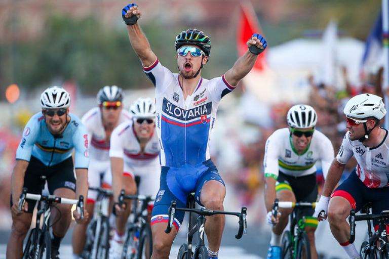 Peter Sagan wins 2016 Road World Championship (picture by Alex Whitehead, SWPix, via Britishcycling.org_.uk).jpg