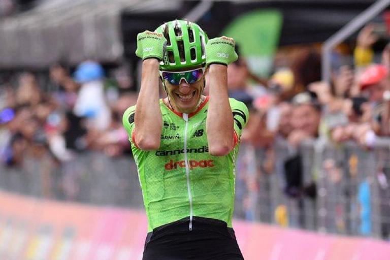 Pierre Rolland wins Stage 16 of 2017 Giro d'Italia (picture LaPresse - D'Alberto - Ferrari - Paolone - Spada).jpg