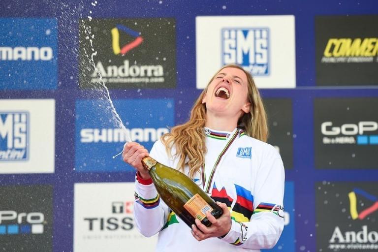 Rachel Atherton after winning 2015 MTB Downhill World Championship (Photo by David Ramos, Getty Images for British Cycling).jpg