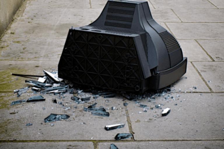 Smashed television (copyright Simon MacMichael).PNG
