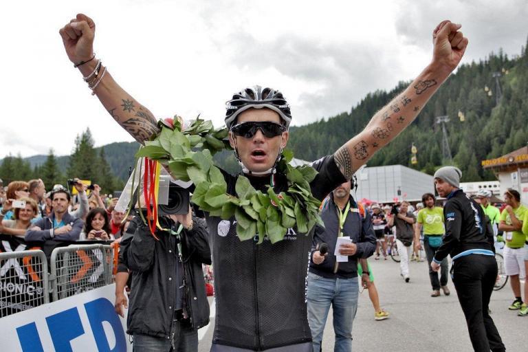 Stefano Cecchini after winining 2014 Maratona dles Dolomites (picture  Daniel Töchterle, Maratona dles Dolomites).jpg