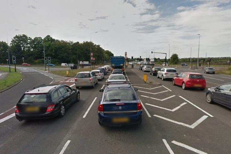 Traffic on the A4174 queuing at the Bristol Road junction (via StreetView).jpg