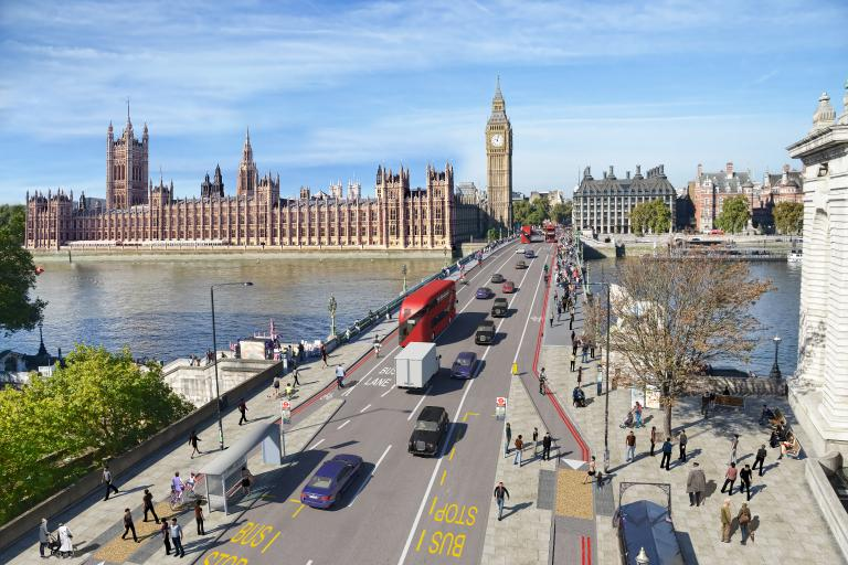 Westminster Bridge bus stop bypass graphic
