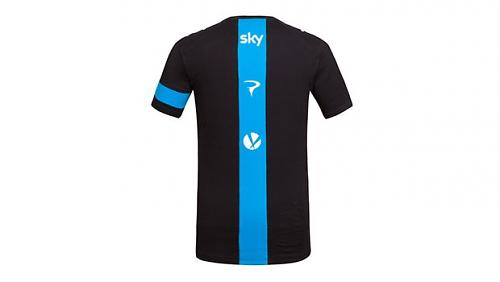 A cotton Team Sky Supporters T-shirt will be available from late January at  £30. A blue stripe runs the length of the back and you get another stripe  around ... 21eac32f1