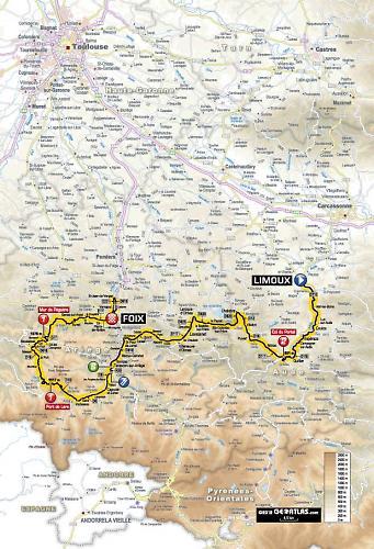 Limoux France Map.Tour De France 2012 Stage 14 Preview Limoux To Foix 191 Km High