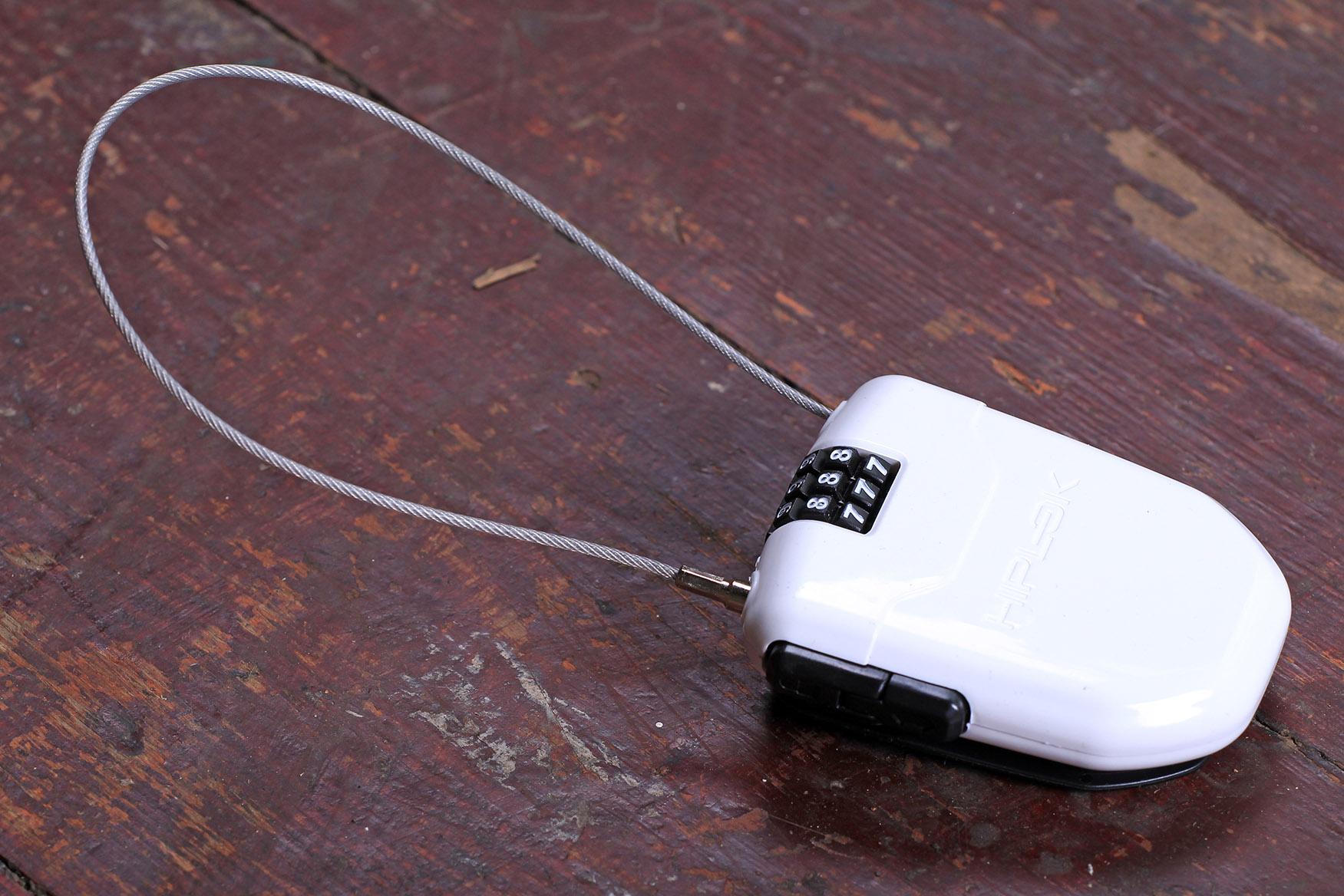 Hiplok FLX RETRACTABLE STEEL CABLE BIKE COMBINATION LOCK REAR LIGHT 1m WHITE