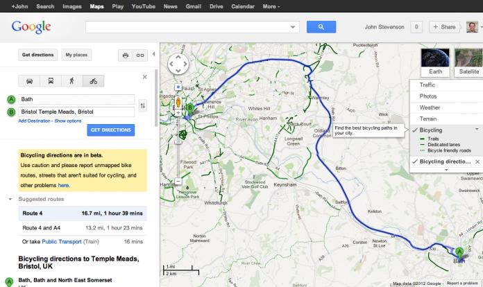 Google Maps adds UK bike navigation with Sustrans routes ... on google maps exercise bike, google maps bike trail, google bicycle, bicycle path, google bike maps nyc, google maps bike route, la jolla bike path,