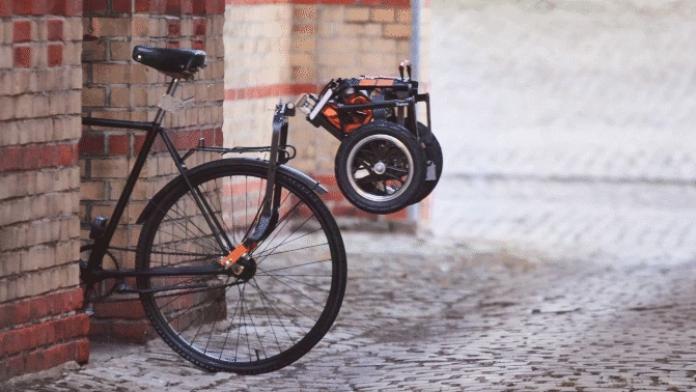 The Trenux, a bike trailer that folds up in ten seconds when not in