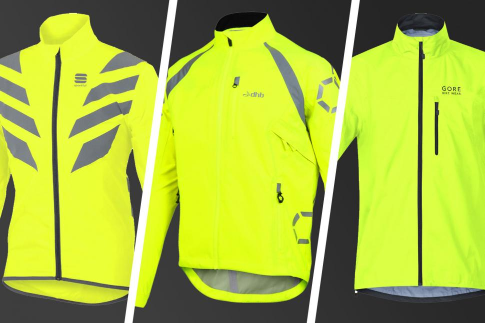 Mens Cycling Hooded Jacket High Visibility Waterproof Running Top Rain Coat