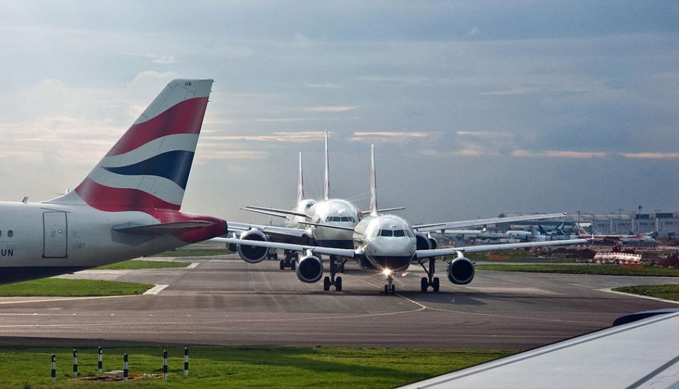 Aircraft queueing at London Heathrow Airport - Licensed CC BY 2.0 by Phillip Capper.jpg
