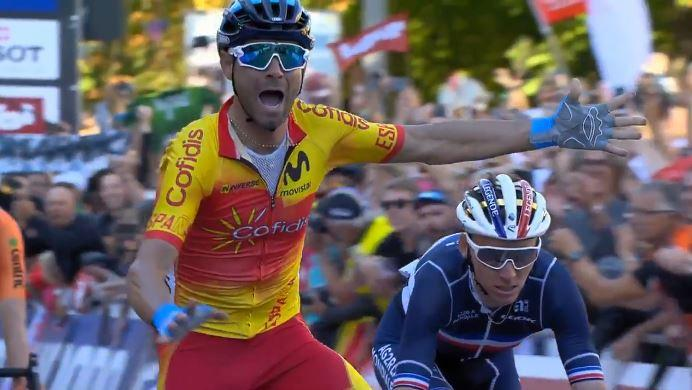 Alejandro Valverde wins 2018 UCI Road World Championship (via UCI on Twitter).JPG