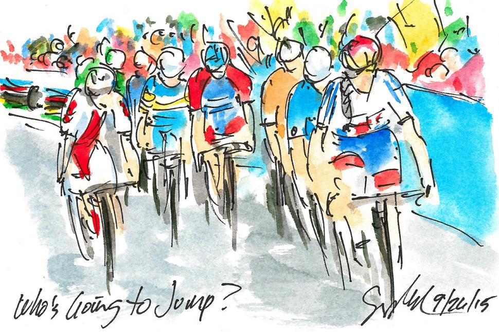 Art of Cycling by Greig Leach - Richmond 2015 UCI Road World Championships - Who's Going to Jump.jpg