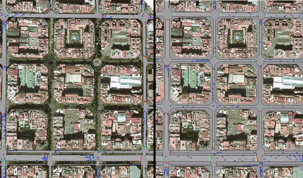 Barcelona roads on the right - Proposed superblocks on the left - images via BCNecologia.jpg