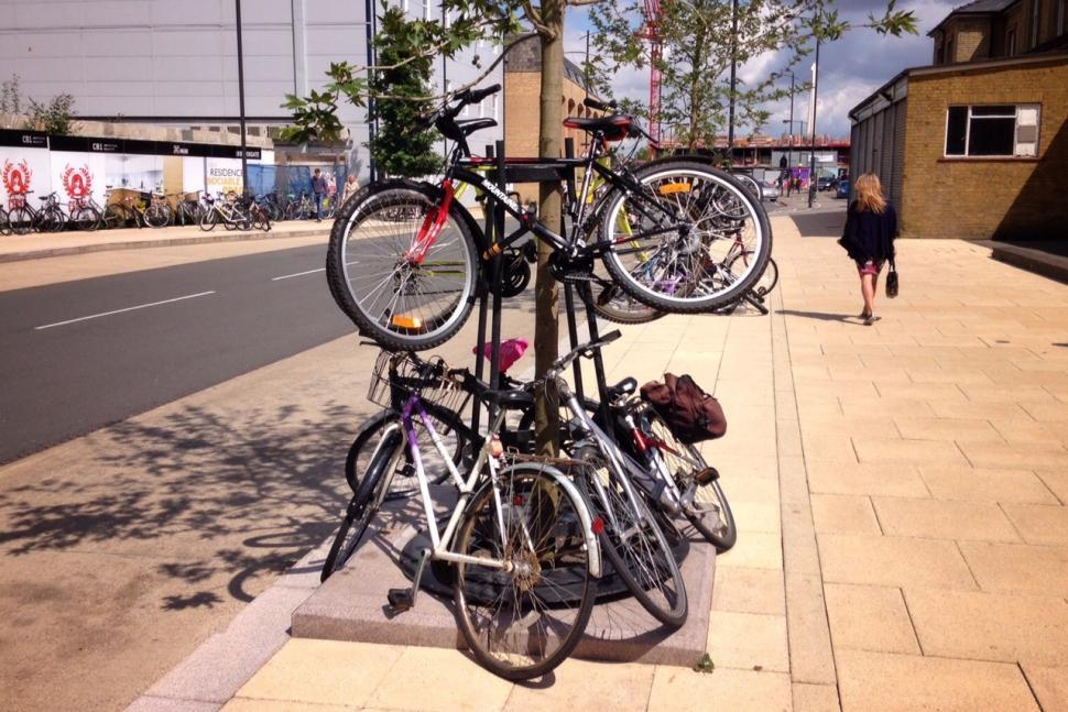 Bicycles parked at Cambridge Railway Station (copyright Simon MacMichael).jpg