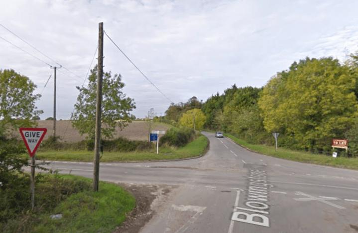Blowingstone Hill junction with B4507 (source Google Street View).PNG