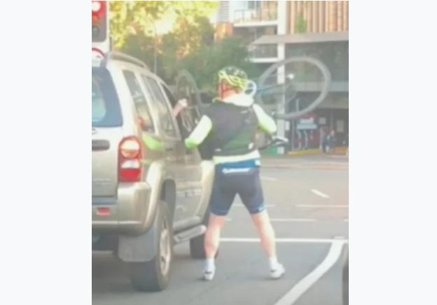 Cyclist very upset in Brisbane road rage video