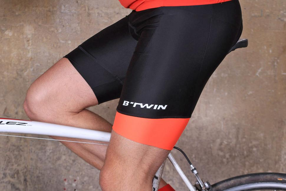 BTwin 500 Cycling Bib Shorts - riding.jpg