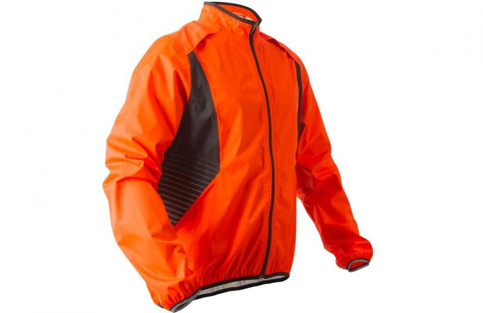 B'TWIN 500 HI VIZ WATERPROOF CYCLING JACKET - ORANGE