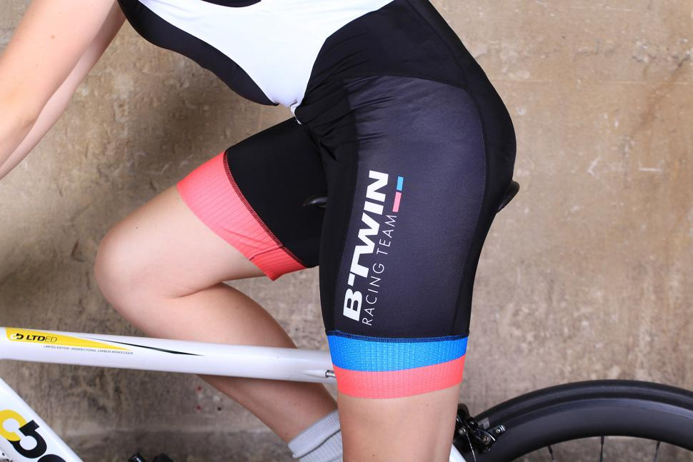 BTwin 700 Womens Cycling Bib shorts - riding.jpg
