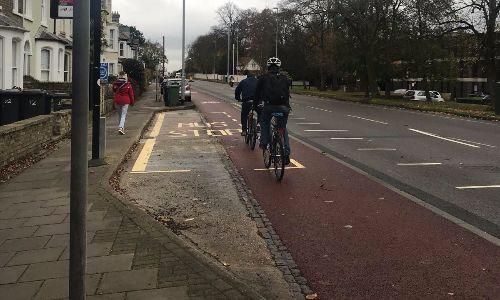 Cambridge kerbed cycleway (picture via Cambridgeshire County Council)