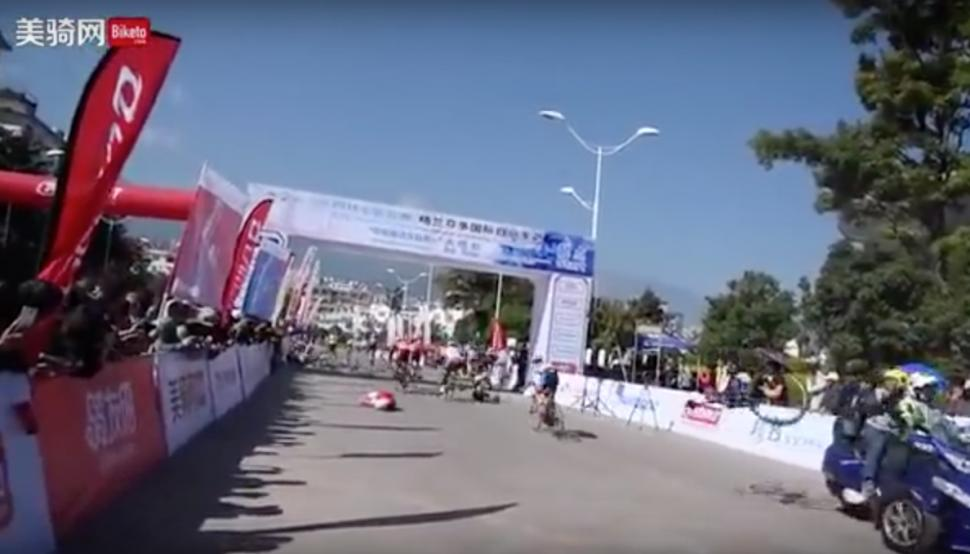 Chinese bike race two way crash.png