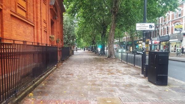 Chiswick High Road pavement outside church at junction with Duke's Avenue (picture Simon MacMichael)
