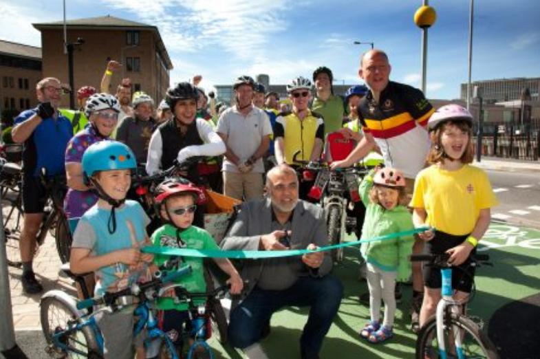 Councillor Taj Salam opens Bradford;s Canal Road Cyclewayy (picture credit CityConnect).PNG