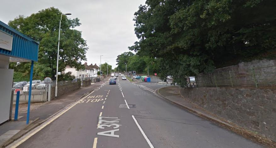 Cowley Bridge Road, Exeter, approaching turn into Steiner Academy (source Google Street View).PNG