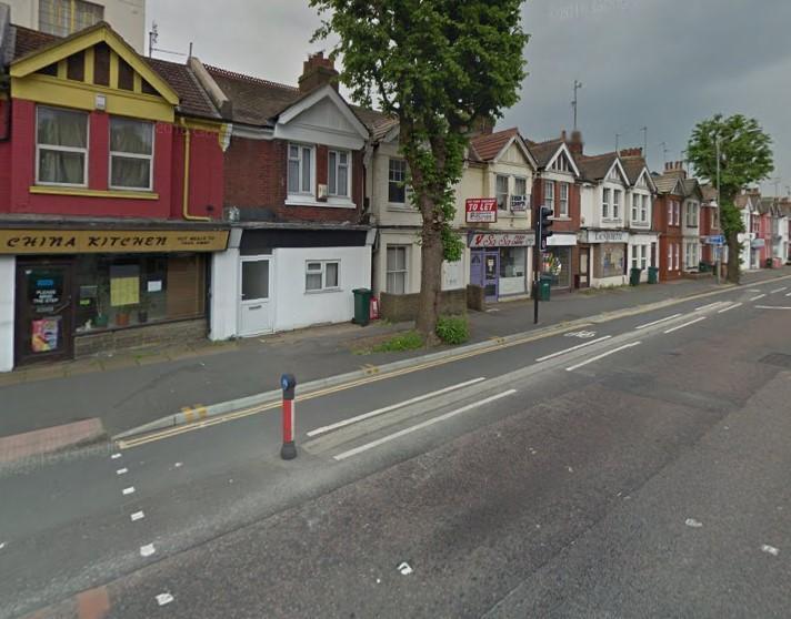 Cycle lane on Lewes Road, Brighton (via StreetView).jpg