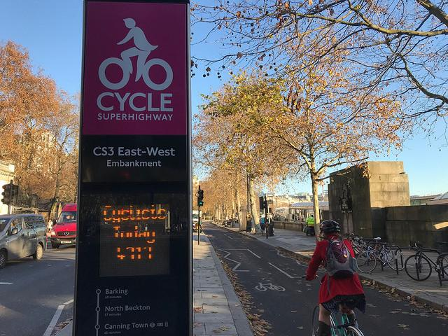 Cycle Superhighway at Embankment (licensed CC BY 2.0 by Matt Brown on Flickr)