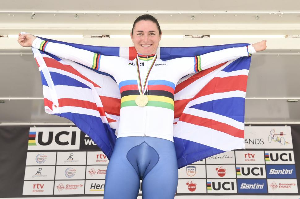 Dame Sarah Storey after winning C5 TT at 2019 Paracycling World Championships.JPG