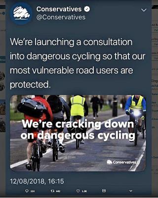 Dangerous cycling tweet