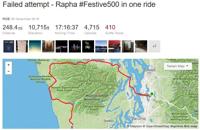 Cyclist\'s attempt to do Rapha Festive 500 in