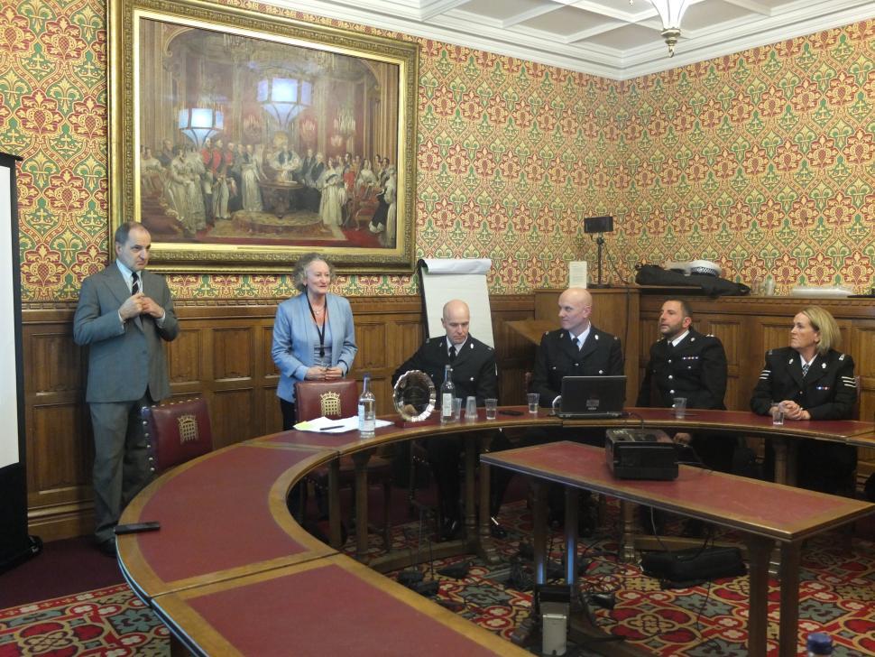 Baroness Jones congratulates West Midlands Police (image courtesy of Road Danger Reduction Forum)
